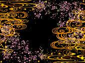 和柄夜桜と波