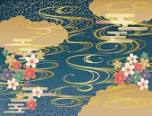 Japanese pattern of waves and blue-green background
