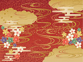 Japanese Pattern Red Background Wave