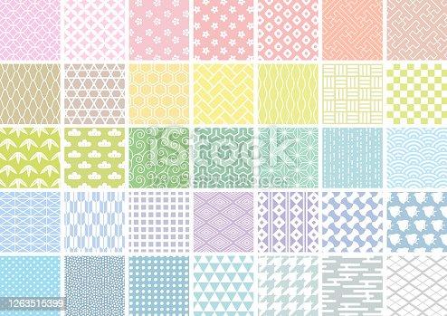 Conjunto de patrones japoneses de líneas blancas