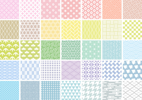 Japanese pattern set of white lines