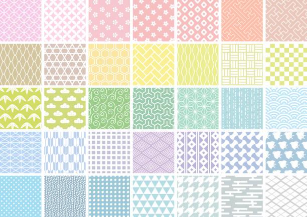 白線の日本語パターンセット - 日本点のイラスト素材/クリップアート素材/マンガ素材/アイコン素材