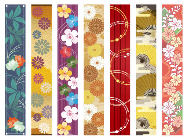 Japanese Pattern Set I put together the design of the Japanese pattern of the vertical type strip and put it together japanese culture stock illustrations
