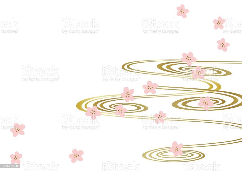 和柄。日本の春。春のイメージ。カレンダー クリップアート。背景。 ベクターアートイラスト