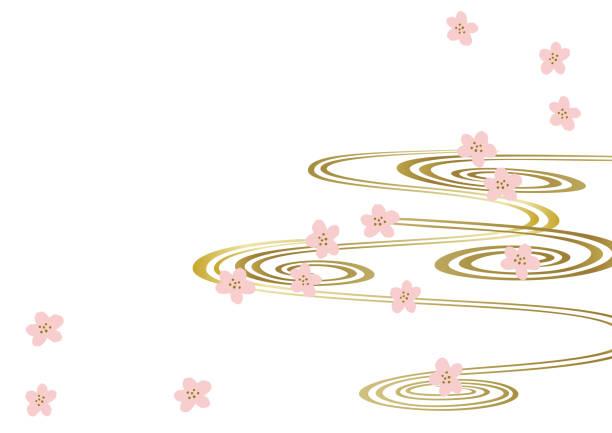 ilustraciones, imágenes clip art, dibujos animados e iconos de stock de patrón japon. primavera en japón. imagen de la primavera. prediseñadas de calendario. fondo. - calendario de flores