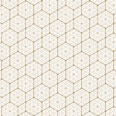 Japanese pattern vector. Gold geometric background and texture.