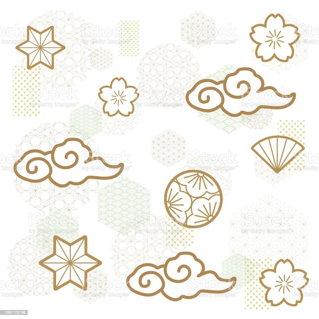 Japanese Pattern Vector Gold Icon Such As Cloud Flower Fan Oriental Template