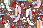 Seamless pattern with geishas and other Japanese symbols.