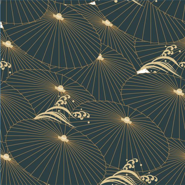 stockillustraties, clipart, cartoons en iconen met japanse patroon vector. paraplu en golf elementen achtergrond. - bloemen storm