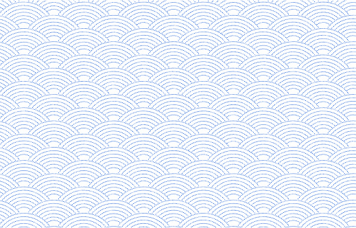 Japanese pattern with white shading on a transparent background blue: shark komon