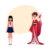 Japanese people - geisha in historical kimono and typical schoolgirl