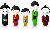 japanese people icon set.