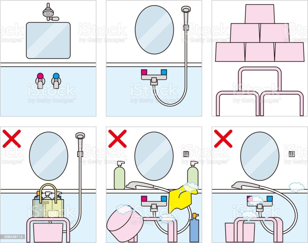 Japanese public baths. Bath manners and etiquette. vector art illustration