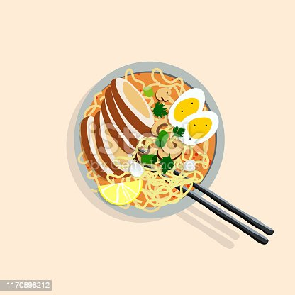Japanese ramen illustration. Perfectly usable for all japanese food projects.