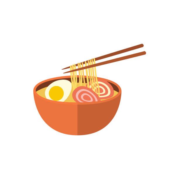 日本のラーメンのスープと箸、フラット アイコン - ラーメン点のイラスト素材/クリップアート素材/マンガ素材/アイコン素材