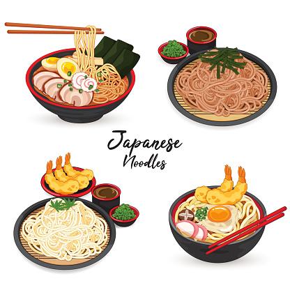 Japanese ramen udon soba and somen noodles menu illustration isolated vector.