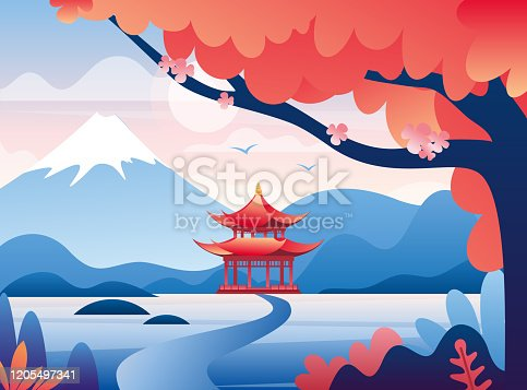 Japanese castle and snowy Fuji mountain peak colorful illustration. Beautiful oriental nature flat vector. Blooming sakura tree. Red fortresses and spectacular mountain landscape view