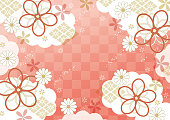 istock Japanese red traditional pattern 1224001600