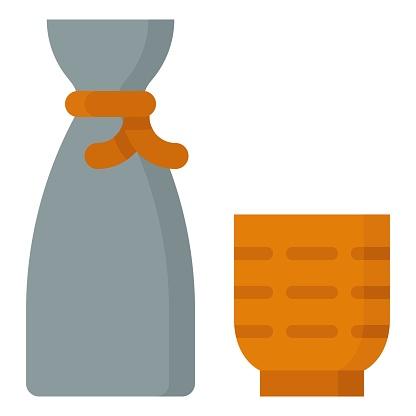 Japanese rice wine icon, Beverage flat vector illustration