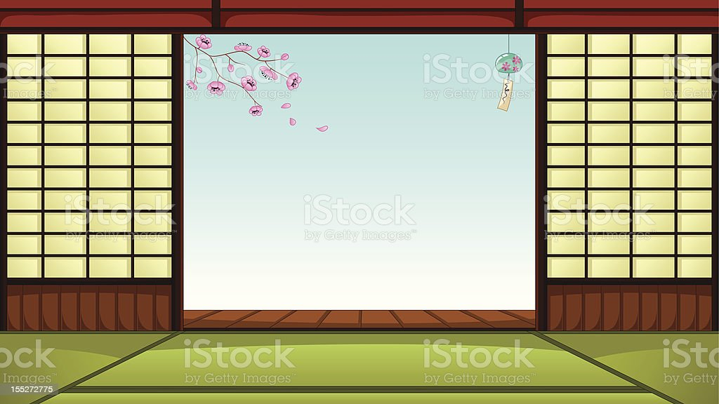 Japanese Room Vector Art Illustration
