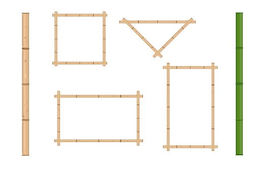 Japanese rustic realistic bamboo frame.  Vector illustration isolated.