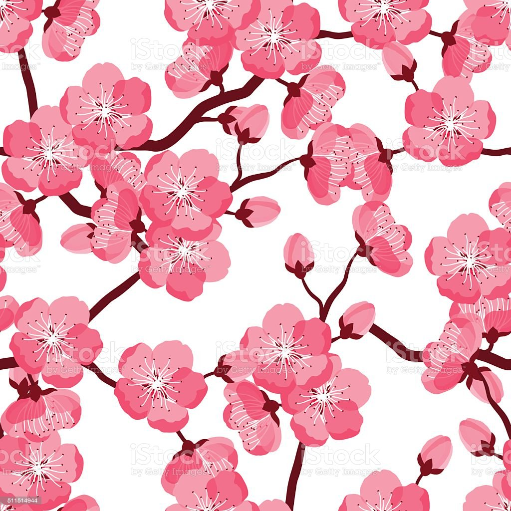 Japanese Sakura Seamless Pattern With Stylized Flowers Background