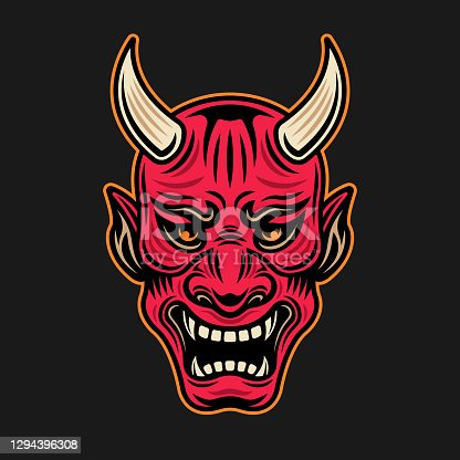 Japanese samurai red mask with horns vector illustration in vintage colored style isolated on dark background