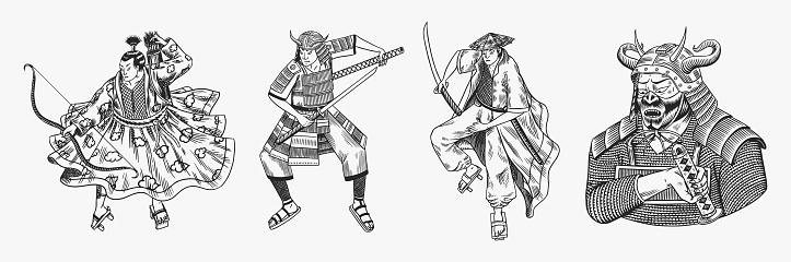 Japanese samurai set. Warriors with weapons sketch. Men in a fight pose. Hand drawn vintage sketches. Vector illustration in monochrome style