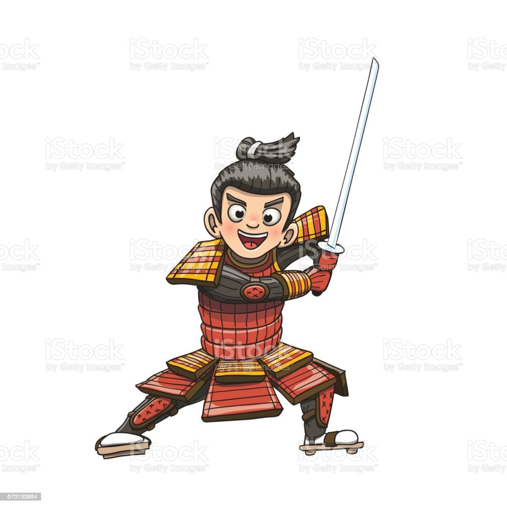 Vetores De Ilustracao De Desenhos Animados De Guerreiro Samurai