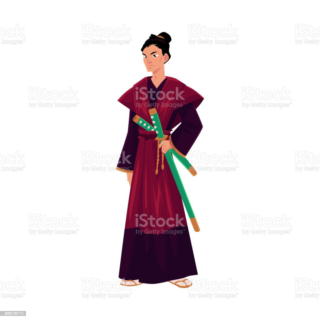 Ilustración de Japonés Samurai Guerrero En Kimono Tradicional Con ...
