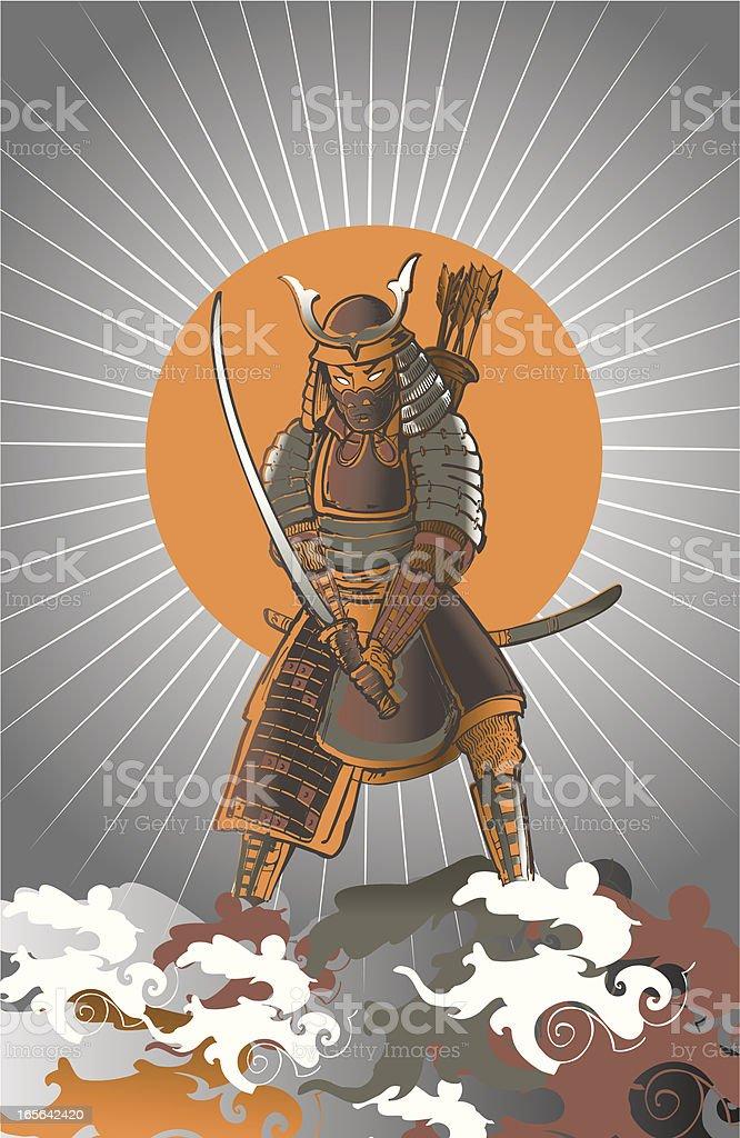 Desenho De Guerreiro Samurai Japones Arte Vetorial De Stock E