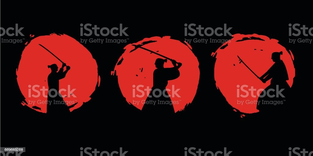戦国無双シルエット。ベクトルの図。 ベクターアートイラスト