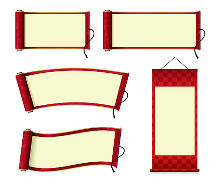Japanese scroll paper / hanging scroll illustration set (red)