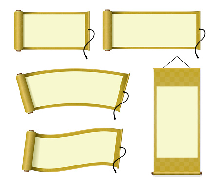 Japanese scroll paper / hanging scroll illustration set (gold)