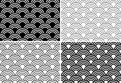 Japanese seamless circle abstract wave pattern