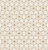 Japanese seamless pattern in style Kumiko.For template,fabric,shoji screens,textile,wrapping paper,laser cutting and engraving.Background vector.Compound ornament.Hexagon grid.MEDIUM thickness lines.