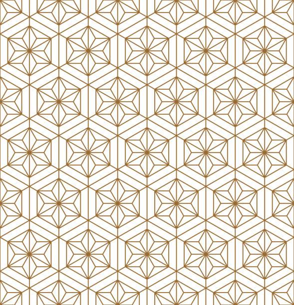 ilustrações de stock, clip art, desenhos animados e ícones de japanese seamless pattern in style woodwork kumiko ornament. - mosaicos flores