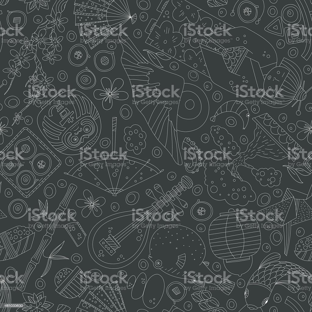 Japanese Seamless Pattern vector art illustration