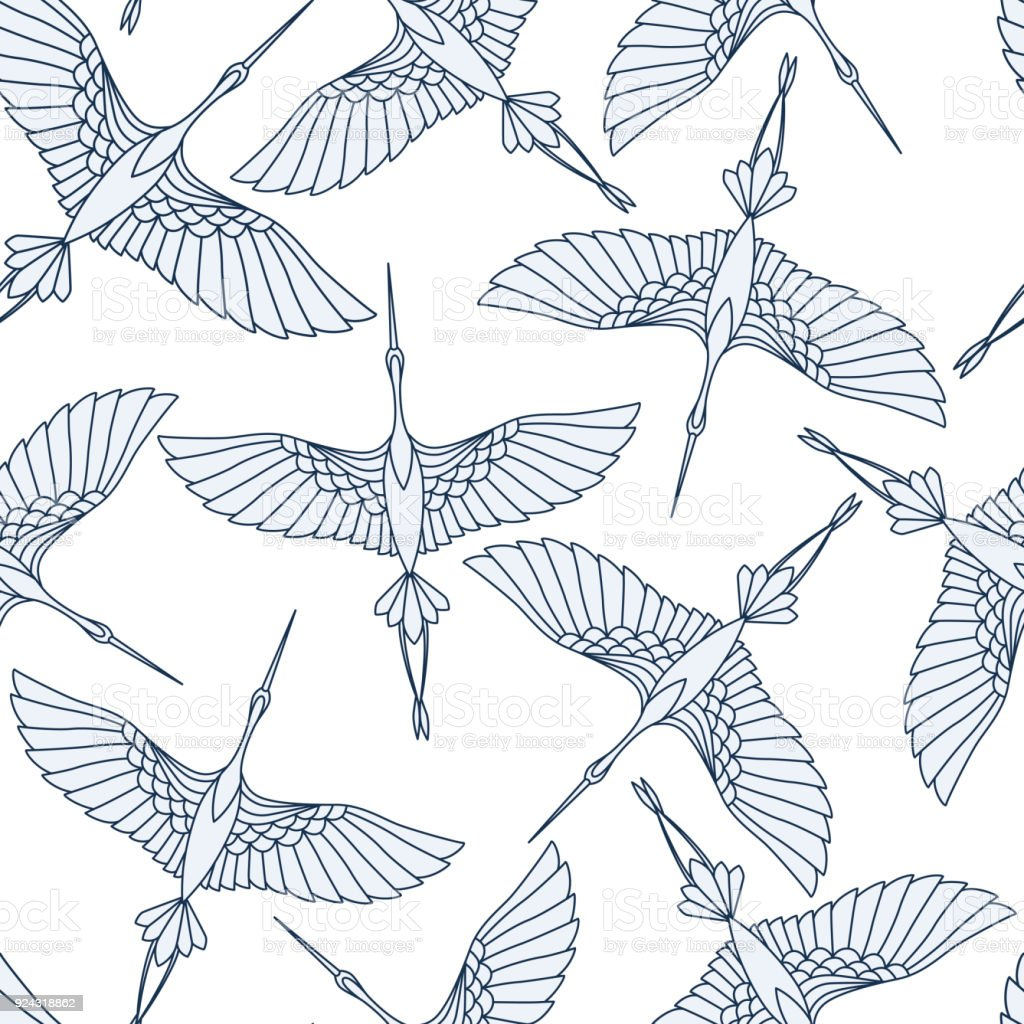 Japanese seamless pattern with beautiful cranes. Chinese vector background with flying birds. Ornament with oriental motives. - illustrazione arte vettoriale