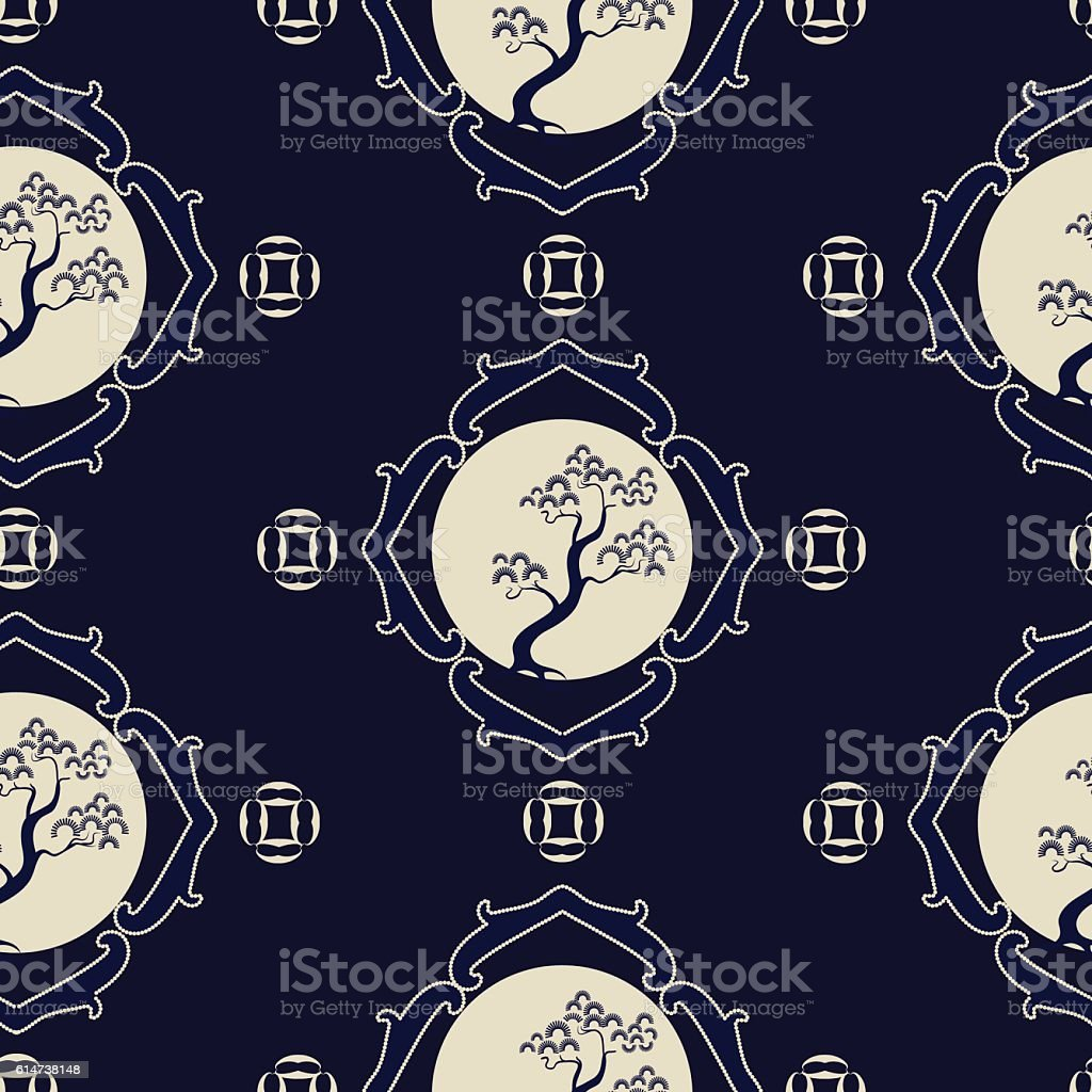 Japanese seamless pattern with pine trees vector art illustration
