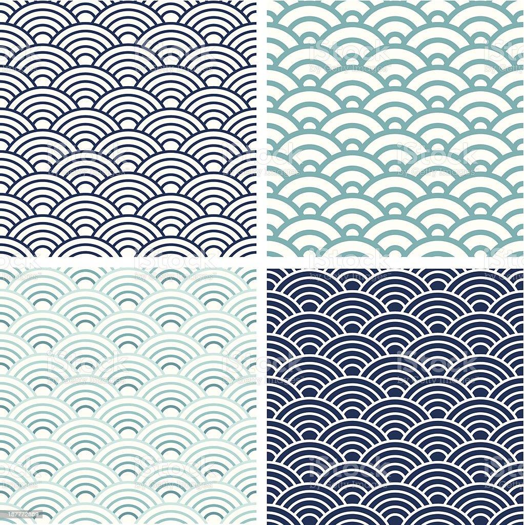 Japanese Seigaiha seamless pattern set vector art illustration