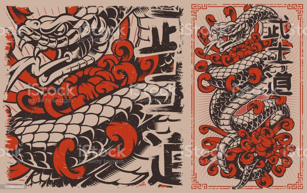 Japanese snake vector art illustration
