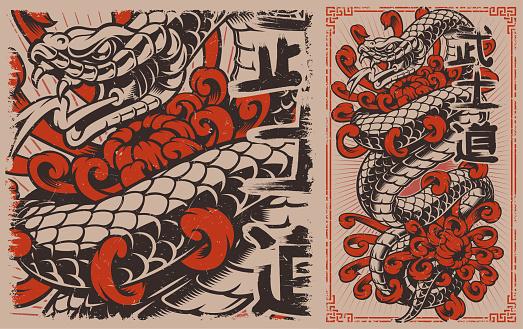 Snake tattoo stock illustrations