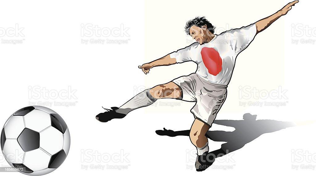 Japanese soccer player royalty-free stock vector art
