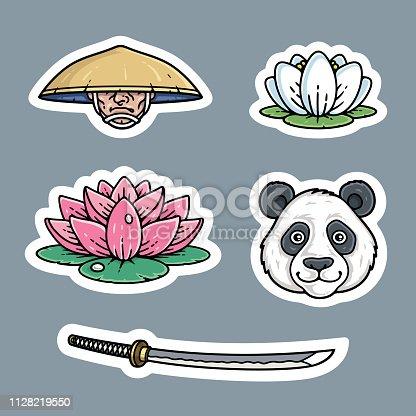 Japanese stickers set. Samurai, lotus flower, panda, katana.