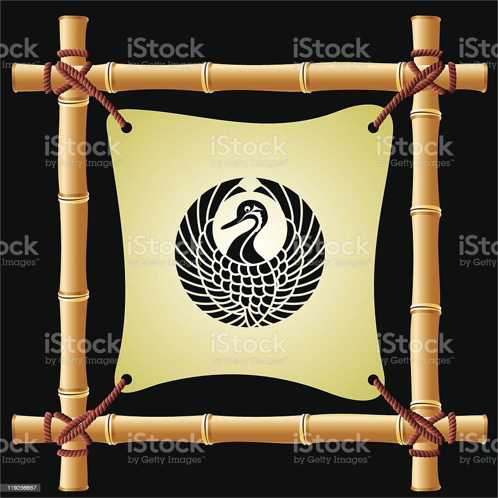 Japanische Eines Storches Auf Bambusrahmen Stock Vektor Art und mehr ...