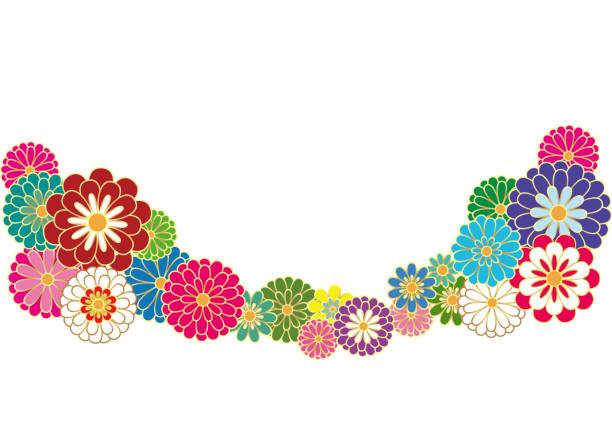 Japanese style chrysanthemum. Vector illustration. vector art illustration