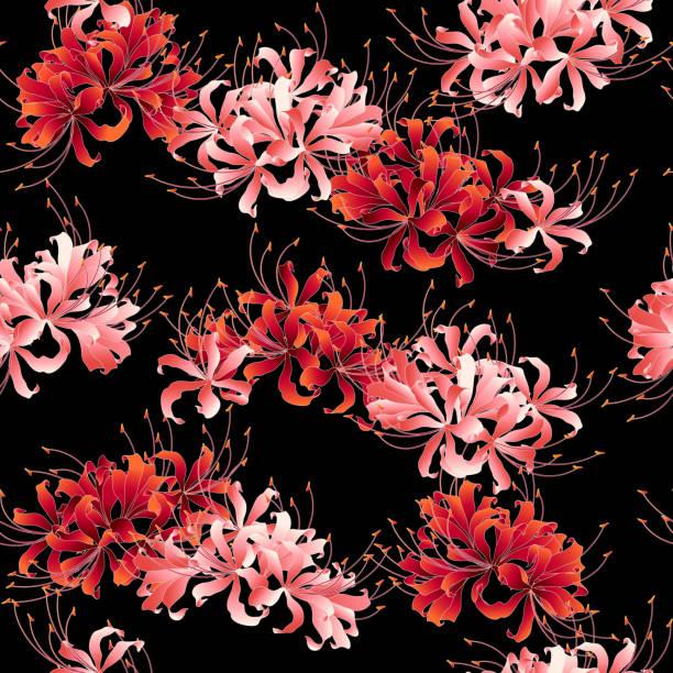 bildbanksillustrationer, clip art samt tecknat material och ikoner med japansk stil kluster amaryllis mönster, - amaryllis