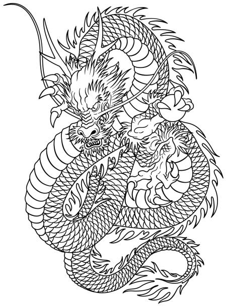 Motif dragon style japonais - Illustration vectorielle