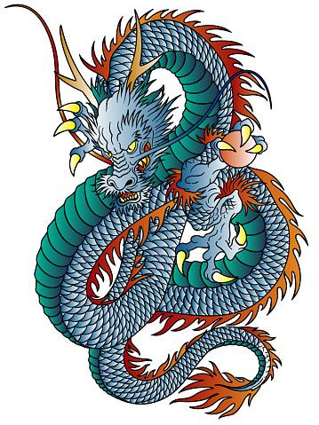Japanese style dragon pattern